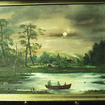 "Folk Art Painting""Fishing full Moon"" Anonymous Artist"