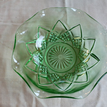 Green Depression Glass Holiday Bowl