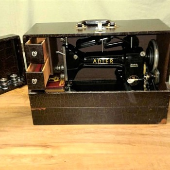 "1950's Adler 87 Portable Sewing Machine with ""Tailor's Case"""