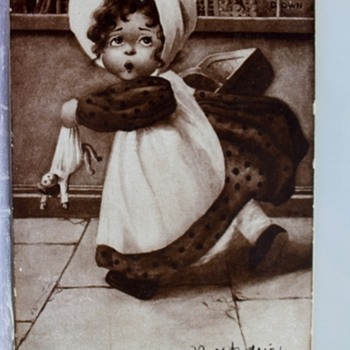 """WE MUSTN'T MISS THAT BARGAIN SALE 1907 HURRYING GIRL POSTCARD"