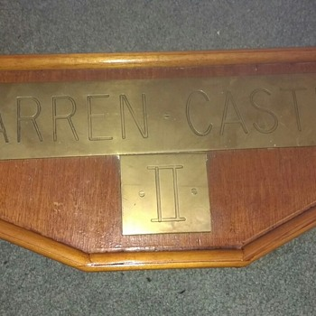 Warren Castle II solid inscribed brass wording and numbers on a solid wood frame, could be from a Sailing Ship or Steam Engine - Railroadiana
