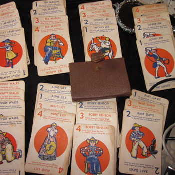 Antique Card Game - Sunny Jim 1-4 - Aunt Lily each has 4 cards w/ 8 different ones w/ a brown snap case. Any ideas?