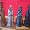 1940's Original Antique Hand Carved Painted Complete Korea Stone Chess Set