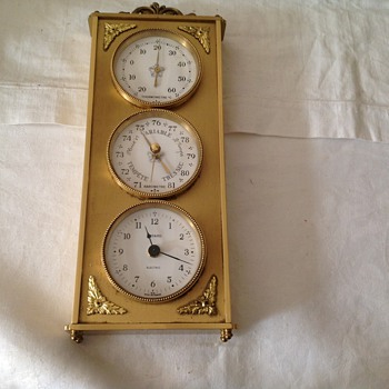 Vintage 1974 brass French Bayard mantle/wall clock with thermometer and barometer. - Clocks