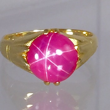Victorian Ruby 6 Star Sapphire 9ct Ring  - Fine Jewelry
