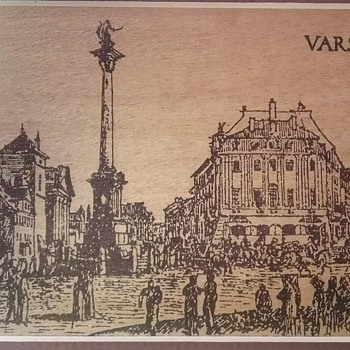 Ink drawn sketch of Warsaw palace square