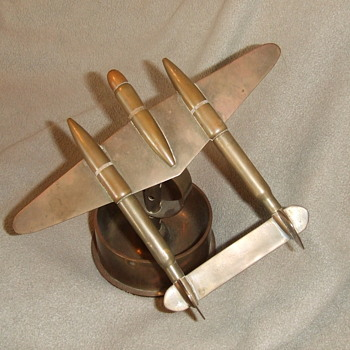 WW2 P-38 Trench art ashtray - Folk Art