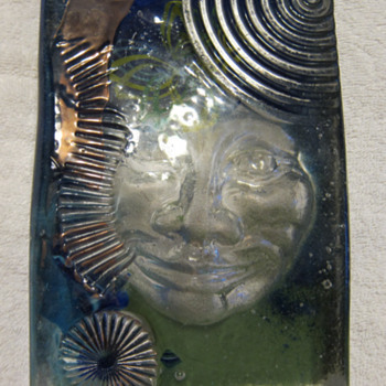 Phoenix Studio - Art Glass Block With Face - Art Glass