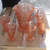 Indiana Glass Avacado Sweet Pear Pitcher and Tumblers