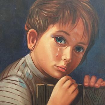 Painting of crying girl - Visual Art