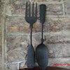 Large cast aluminum vintage spoon and fork wall hangers.