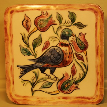 Handmade and beautifully glazed pottery tile - Art Pottery
