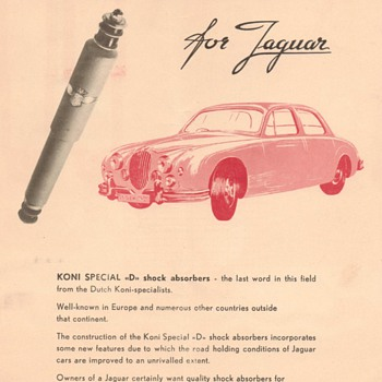 1958 Jaguar & Koni Shock Absorbers Advertisement - Advertising