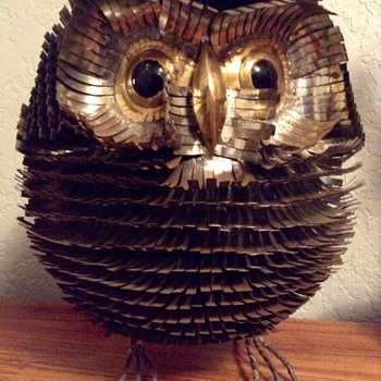 Circa 1970s metal brutalist owl sculpture - Animals