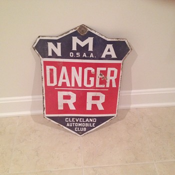 Porcelain railroad danger sign