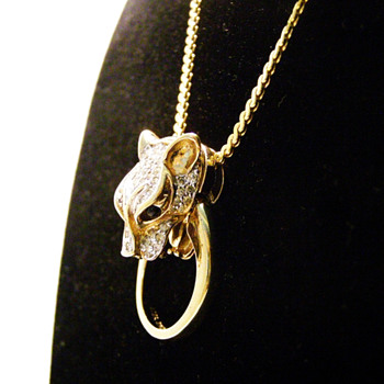 Vintage Panetta Convertible Panther Door Knocker Pendant Ring Necklace - Costume Jewelry