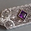 1920's Art Deco Diamond and Amethyst 14kt Brooch or Pendant