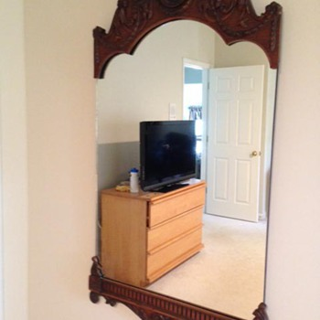 Antique collection of double dresser, vanity and mirror.