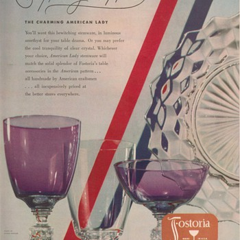 1950 Fostoria Glass Advertisement