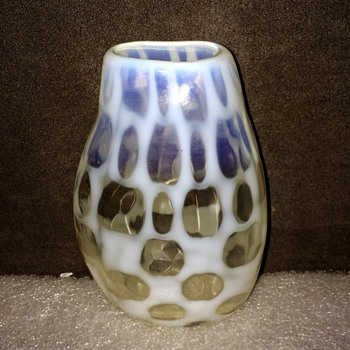 Unknown Bohemian? French? Opalescent Harlequin? Vase 4.35""