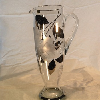 Bohemia Crystal Pitcher, Ewer, Decanter platinum and frosted flowers gilt leaves