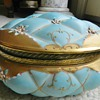 Antique Porcelain Jewellry Box - Raised Pillowy Pattern