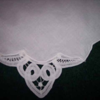 8 WHITE COTTON NAPKINS LACE CORNER 15 1/2-inches by 15 1/2-inches