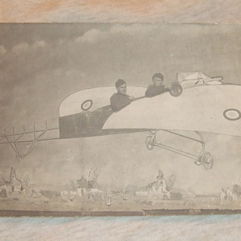 WW1 soldiers RPPC in prop plane - Photographs