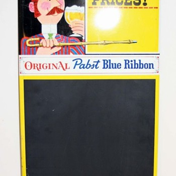 "Pabst Blue Ribbon Chalkboard / MenuBoard ""Now at Popular Prices"" - Breweriana"