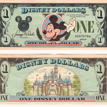 5- $1.00 Disney Dollars - US Paper Money