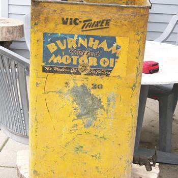 Burnham tested Motor Oil oil drum