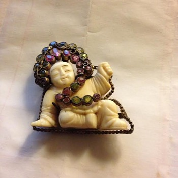 Hobe Costume Jewelry Sitting Buddha Brooch