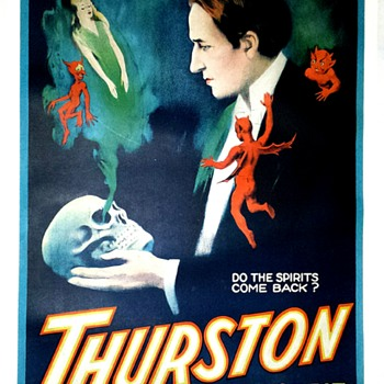 "Original Thurston ""Do The Spirits Come Back?"" Stone Lithograph Poster - Posters and Prints"