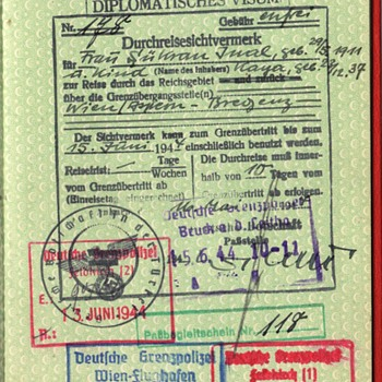 1944 German diplomatic visa from Ankara - Turkish Diplomatic passport