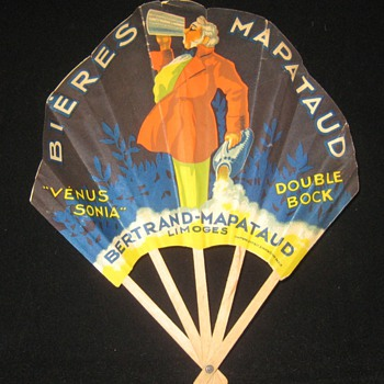 Advertising Paper Fans / Vintage French Fan / lot # 1