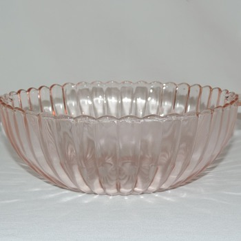 "Pink Ribbed Glass Bowl 10.25""  - Kitchen"