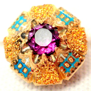 ??? Vintage Amethyst Stud, Button, Cufflink?  
