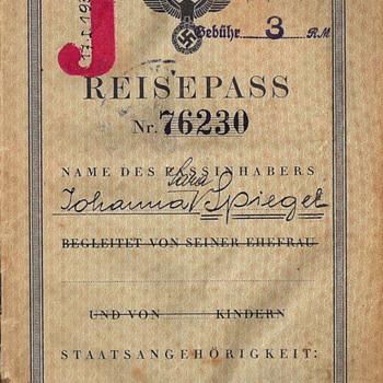 J stamped German passport - Mauritius internee - Paper
