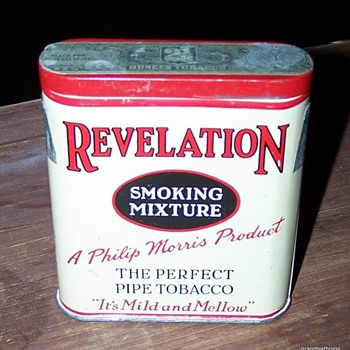 REVELATION TOBACCO TIN PHILIP MORRIS 2 1/8 OUNCE TIN  - Tobacciana