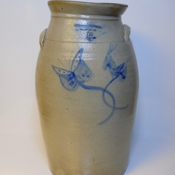 "BROCKVILLE--3 Gallon Cobalt Decorated Salt Glazed Stoneware Crock""White & Handley""Brockville,Ontario, Circa 1885-90"