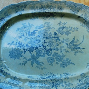 Wedgwood blue white antique oval serving platter Asiatic Pheasants - China and Dinnerware