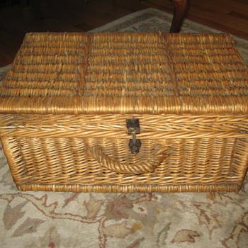 Vintage European Willow Wicker Suitcase