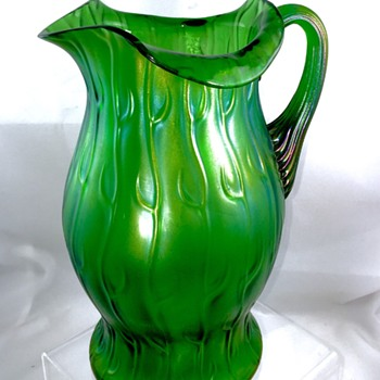 Loetz Creta Neptun Green Iridescent Pitcher, Series II, Ca 1903