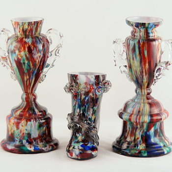 Welz - One Unique Spatter Decor and Three Shapes - Art Glass