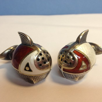 Enamel salt and pepper - Sterling Silver