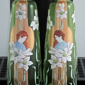 PAIR OF FRITZ HECKERT MONUMENTAL VASES