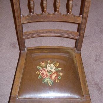"Really Neat ""old"" Oak Chair with plastic covered seat - Furniture"