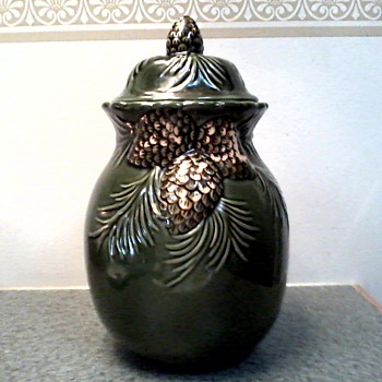 "Beautiful ""Pine Cones and Boughs "" Jar with Lid / No Maker Mark/ Circa 19?? - Art Pottery"