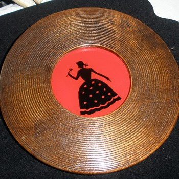 Reverse Painted Young Lady Silhouette '45 RPM' Wood Frame