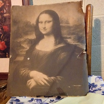 Old print of Mona Lisa